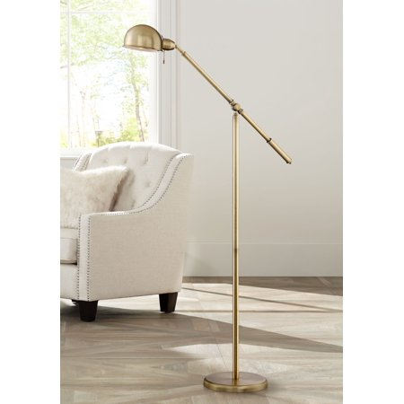 360 Lighting Modern Pharmacy Floor Lamp Antique Brass Adjustable Boom Arm and Head for Living Room Reading Bedroom (Halogen Pharmacy Floor Lamp)