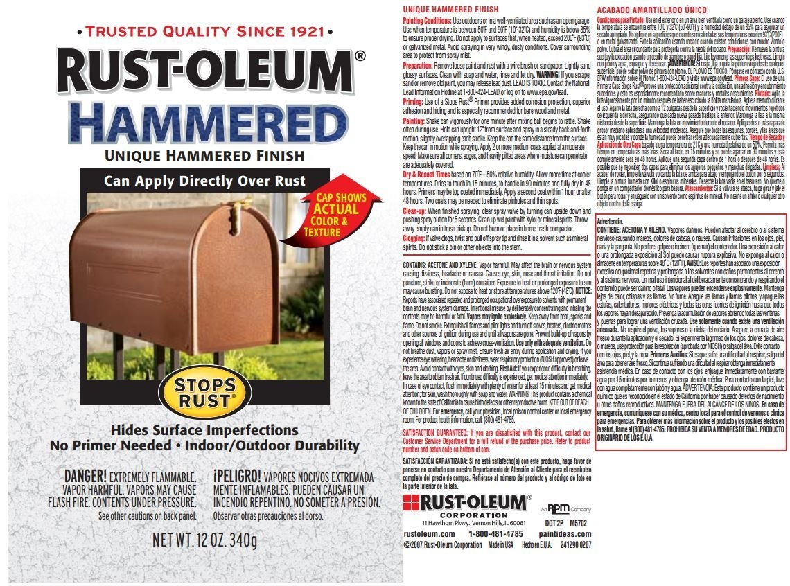 Rust Oleum Stops Rust Indoor And Outdoor Hammered Black