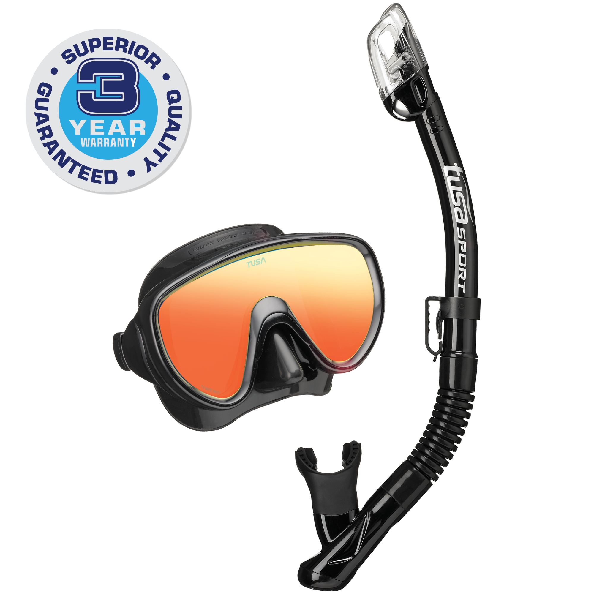 TUSA Sport Adult Serene Black Series Mirrored Mask and Dry Snorkel Combo