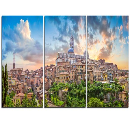 Design Art Historic City of Siena Panoramic View - 3 Piece Graphic Art on Wrapped Canvas Set