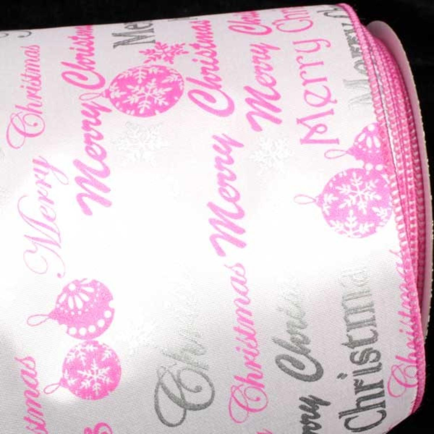 "Merry Christmas Printed Pink/Silver and White Wired Craft Ribbon 5"" x 20 Yards"