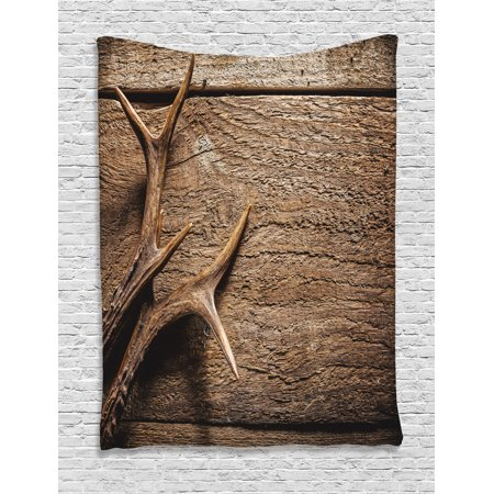 Antlers Decor Wall Hanging Tapestry, Deer Antlers On Wood Table Rustic Texture Surface Hunting Season Decorating, Bedroom Living Room Dorm Accessories, Gift Ideas, By - Italian Table Decorating Ideas