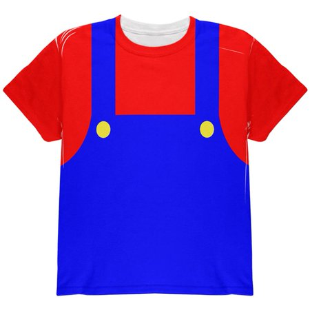 Halloween Italian Red Plumber Costume All Over Youth T Shirt