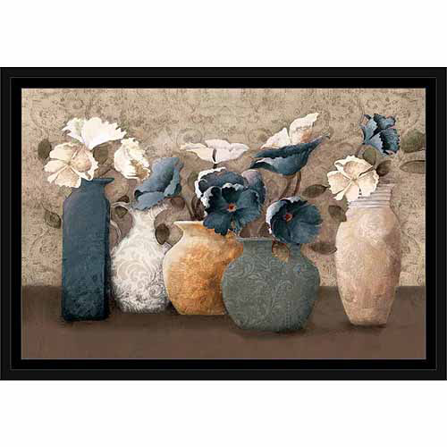 Textured Patterned Flower Pots Painting Blue, Framed Canvas Art by Pied Piper Creative