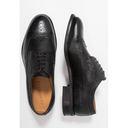 J. LINDEBERG Men's Eng Brogue Italian Grain Oxfords, Black, Sz 12