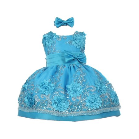 Baby Girls Turquoise Sequin Floral Embroidery Flower Girl Dress 12M](Turquoise Girls Dresses)