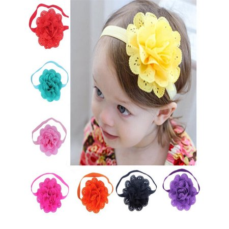 8Pcs Baby Girls Flower Headbands Photography Props Headband Accessories](Purple Head Band)