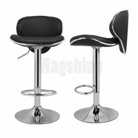 PU Leather Adjustable Swivel Dinning Counter Bar Stools Chrome Curved Seat Chair Set of 2 Black