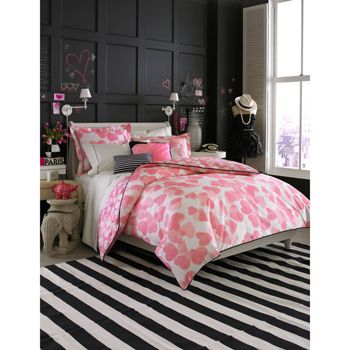 Teen Vogue Pink Hearts Twin Bedding Comforter Set, Pink