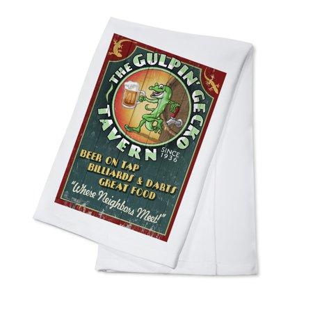 Gecko Tavern - Vintage Sign - Lantern Press Poster (100% Cotton Kitchen Towel)