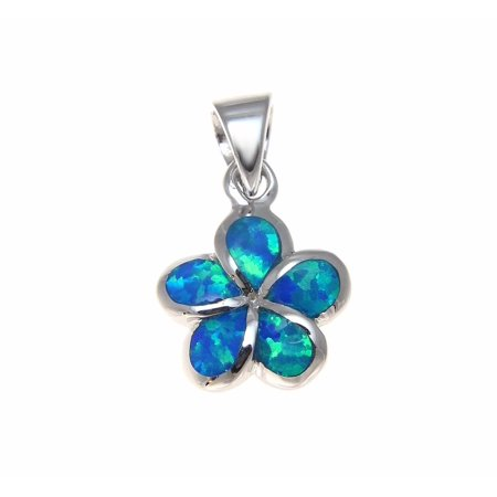 925 Sterling silver inlay synthetic opal 10mm Hawaiian plumeria flower pendant charm