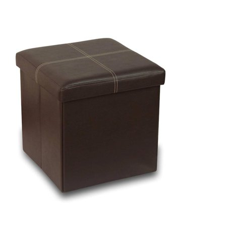 Otto & Ben 15 Inch Line Design Memory Foam Folding Storage Ottoman Bench with Faux Leather ()