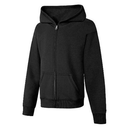 OK270 ComfortSoft Eco Smart Girls Full-Zip Hoodie Sweatshirt, Black - Medium - image 1 of 1