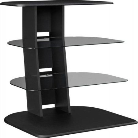Altra Galaxy Audio Stand with Glass Shelves, Black