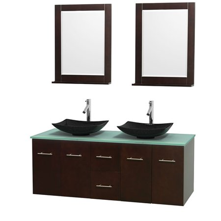Glass Vanity Countertop (Wyndham Collection Centra 60 inch Double Bathroom Vanity in Espresso, Green Glass Countertop, Arista Black Granite Sinks, and 24 inch Mirrors )