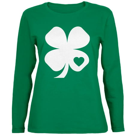 St Patty's Day Shirts (St. Patrick's Day Shamrock Heart Green Womens Long Sleeve)