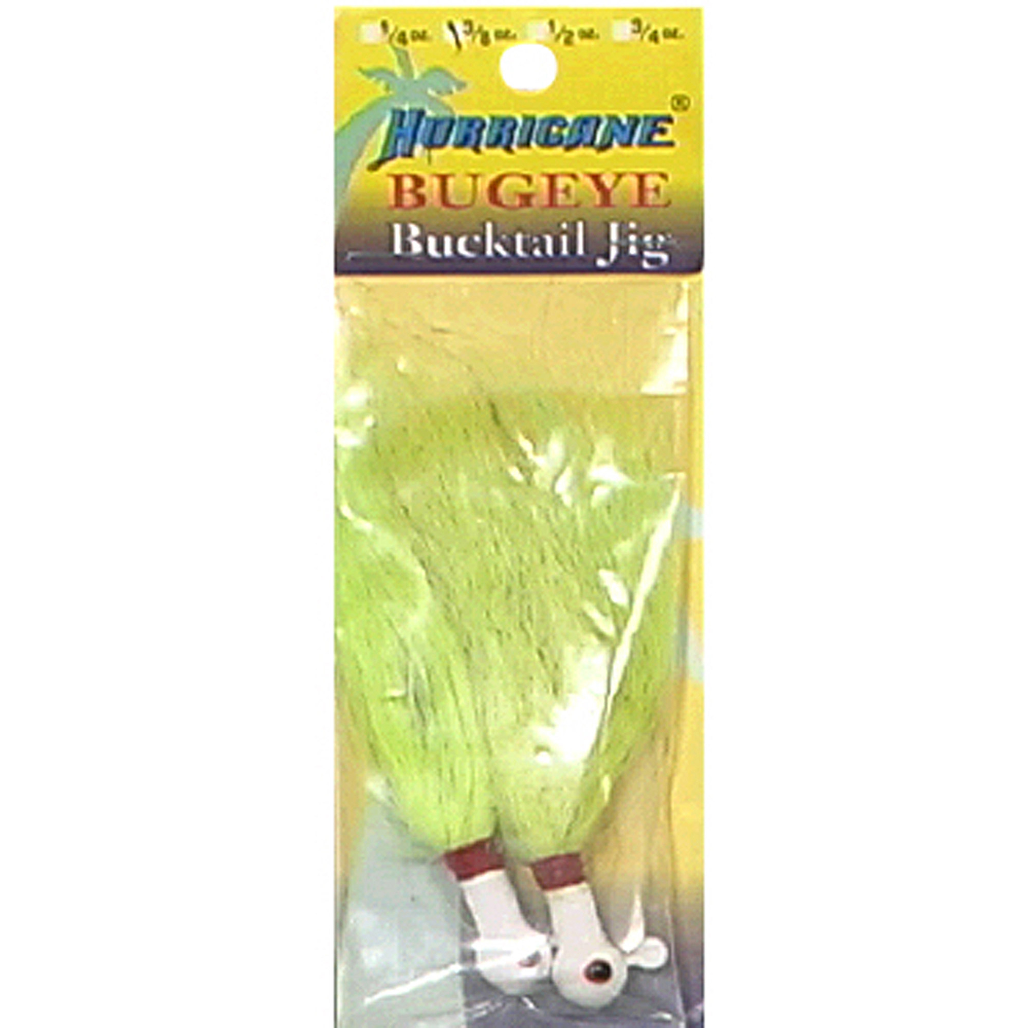 Hurricane H-BEB38-1 White 3 8 Ounce Bugeye Bucktail Jig Lure by Hurricane