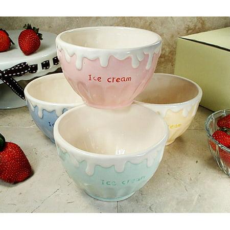 - D'lusso Designs 4 Piece Ceramic Ice Cream Bowl Set