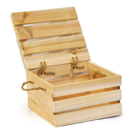 Natural Wooden Crate Storage Box With Lid Small 7in