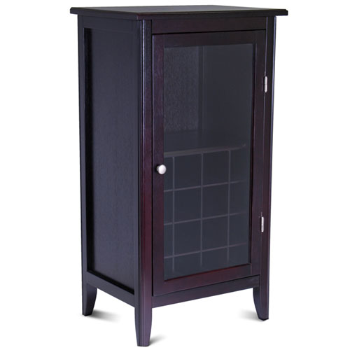Winsome Wood Ryan 16-Bottle Wine Cabinet with Display Glass Door, Espresso Finish