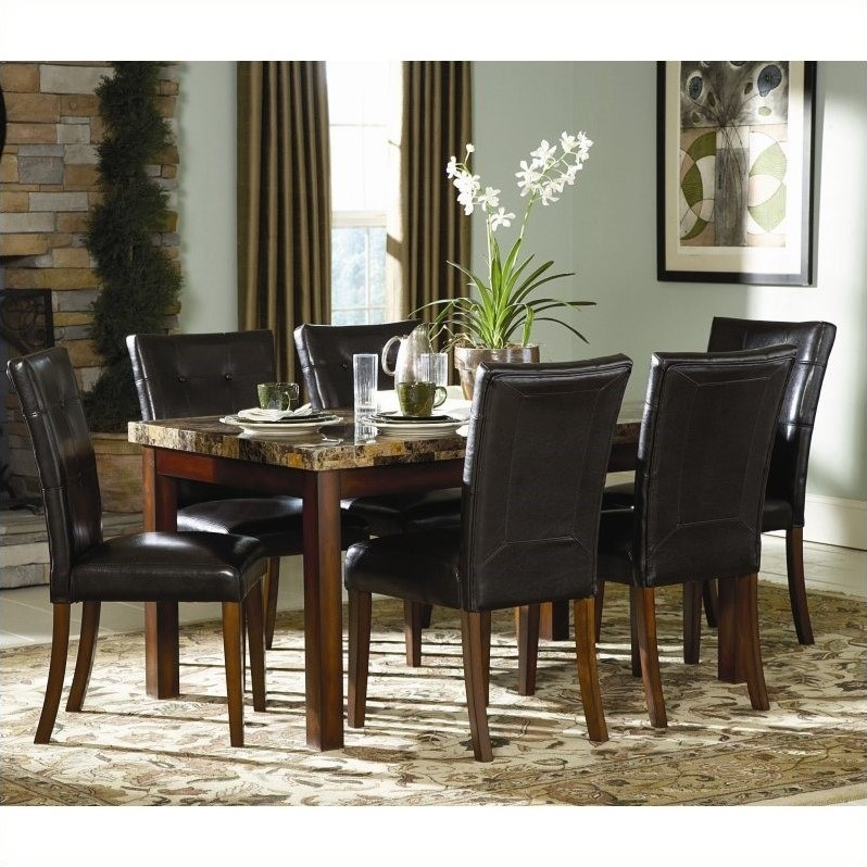 Trent Home Achillea 7 Piece Dining Table Set in Cherry