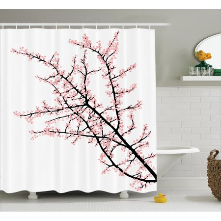 Floral shower curtain cherry branch with pink blossom traditional floral shower curtain cherry branch with pink blossom traditional style illustration asia culture themed fabric bathroom set with hooks pink black mightylinksfo