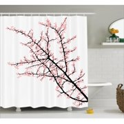 Fl Shower Curtain Cherry Branch With Pink Blossom Traditional Style Ilration Asia Culture Themed