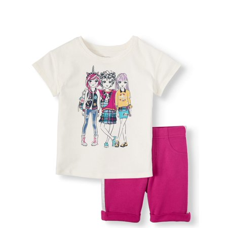 365 Kids From Garanimals Graphic Top and Bermuda Short, 2-Piece Outfit Set (Little Girls and Big Girls)