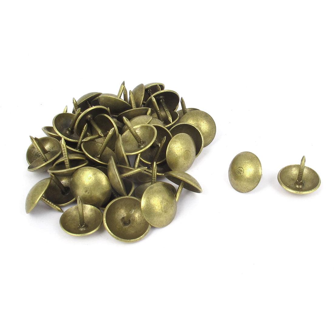 Unique Bargains 14mmx13mm Metal Round Pin Furniture Decorative Domed Nails Bronze Tone 50pcs