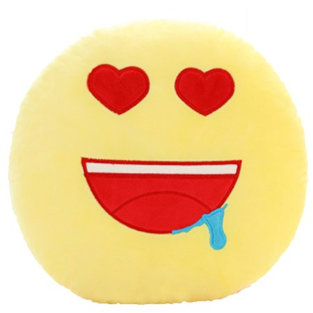 QQ Emoticon Face Yellow Round Plush Pillow - Red Heart Eyes Face Emoji