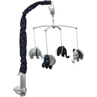 Bacati - Elephants Musical Mobile with Hanging Toys, Blue/Gray