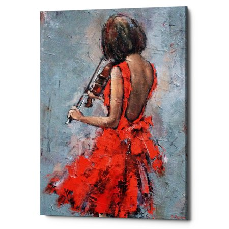 "Epic Graffiti ""Violinist in Red"" by Alexander Gunin, Giclee Canvas Wall Art, 12""x18"""