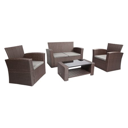 Baner Garden Outdoor Furniture Complete Patio 4 pieces Cushion PE Wicker Rattan Garden Set, Chocolate (N87-CH) 4 Piece Complete Set