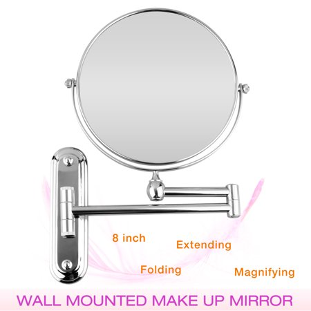 8 inch Wall Mounted Extending Folding Double Side 10x Magnification Mirror