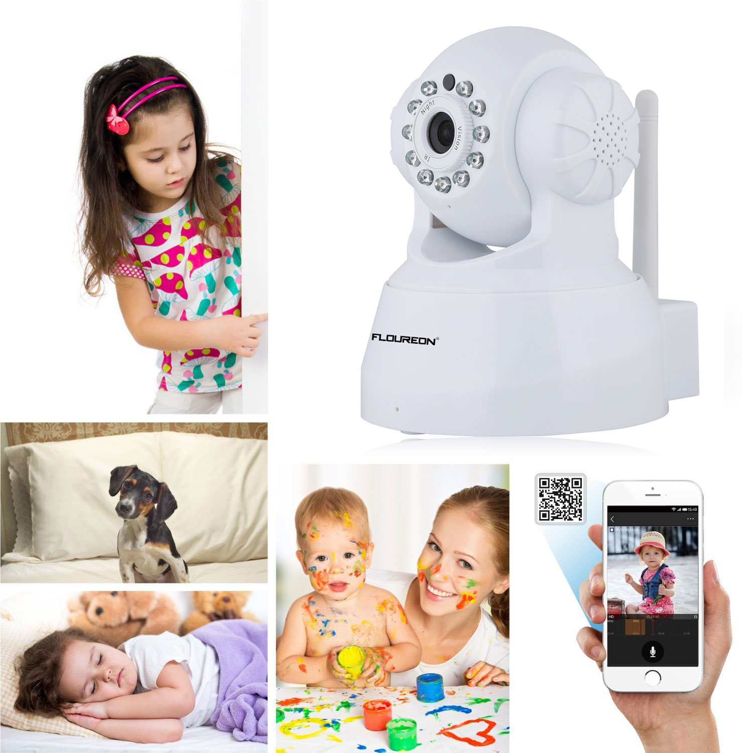 FLOUREON 720P Network Infrared Wireless IP Camera H.264 WiFi Night Vision Motion Detection