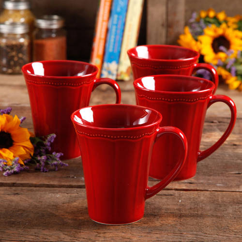 Pioneer Woman Paige 4-Piece Transparent Glaze Mug Set