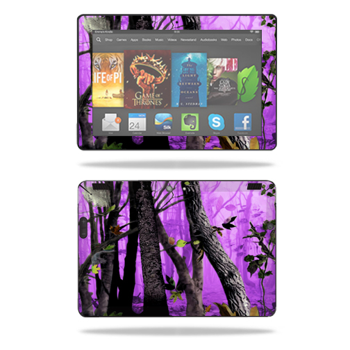 "Mightyskins Protective Skin Decal Cover for Amazon Kindle Fire HDX 8.9"" Tablet (2013 & 2014 models) wrap sticker skins Purple Tree Camo"