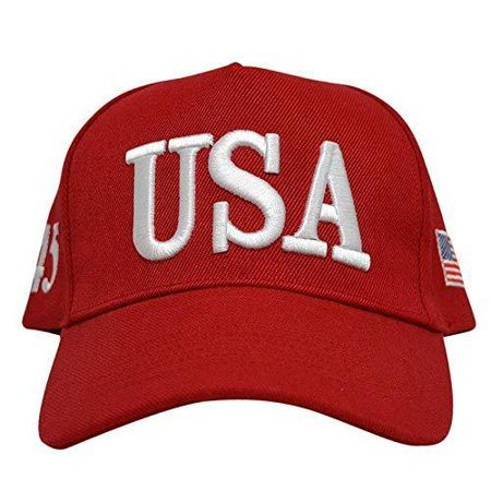 USA RED HAT 45TH PRESIDENT USA ADJUSTABLE SNAPBACK BASEBALL HAT CAP - Red White And Blue Cowboy Hat