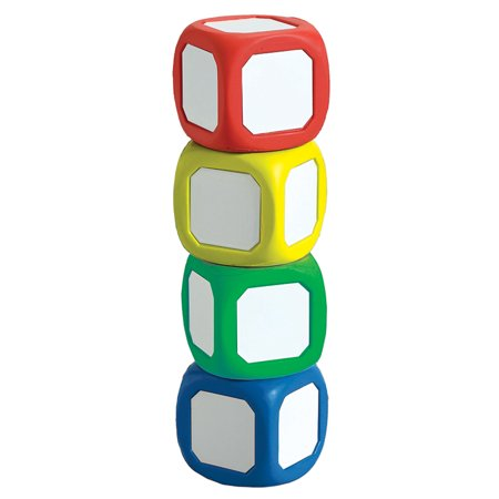 MAGNETIC WRITE-ON WIPE-OFF DICE SET OF 4 SMALL DICE IN ASSORTED COLORS