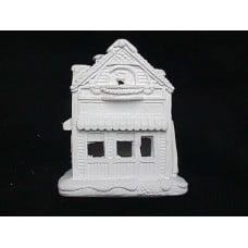 """Plastercraft unpainted holiday village house use acrylic paints round balcony house 4"""""""