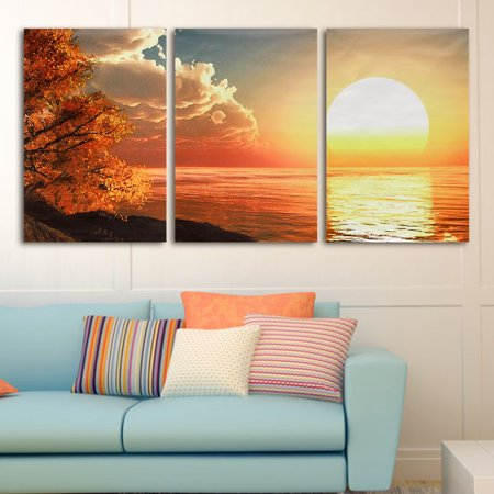 3Pcs Modern Sunset Canvas Painting Picture Print Home Wall Decor Art No Frame