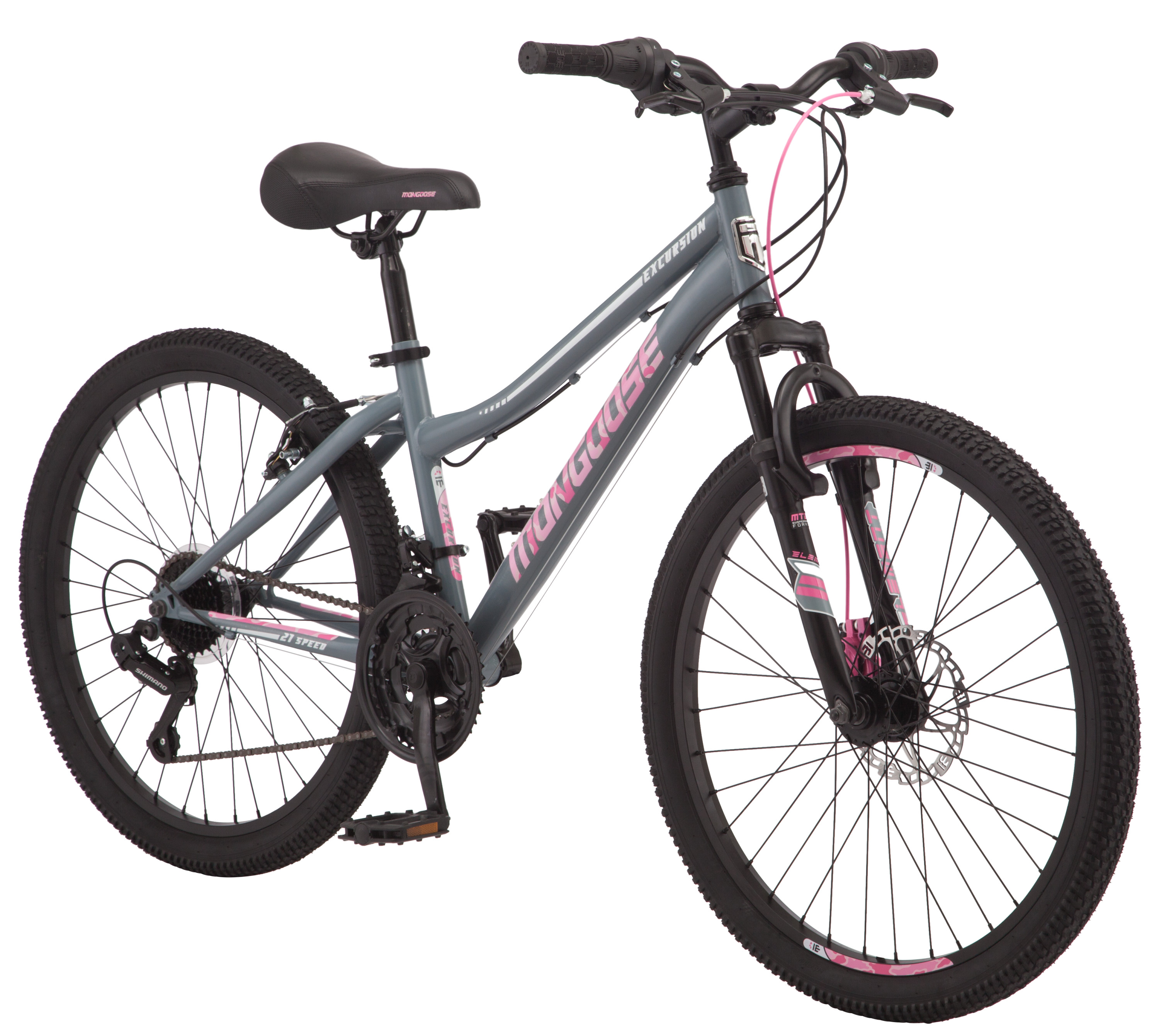 "Mongoose Excursion Mountain Bike, 24"" wheel, 21 speeds, Grey Pink by Pacific Cycle"