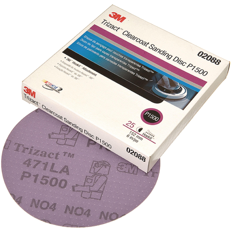 "3M 02088 Trizact Hookit 6"" P1500 Grade Clearcoat Sanding Disc - 25 per Box"