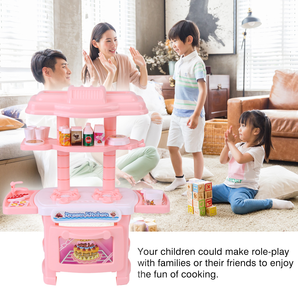 56c63239bd6e Pink Kitchen Cooking Pretend Role Play Toy Set Plastic Lifelike Tableware  Oven Kids Gift