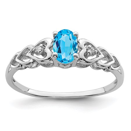 925 Sterling Silver Rhodium-Plated Light Swiss Blue Topaz and Diamond Ring - image 2 of 2