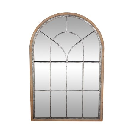 48 Inch Arch - Decmode Rustic 51 X 33 Inch Arched Wall Mirror With Wood Frame And Metal Windowpane Overlay