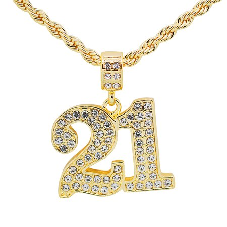 Savage Motor Plate - 14K Gold Plated Hip Hop Bling Iced Out Number 21 Savage Pendant with 24