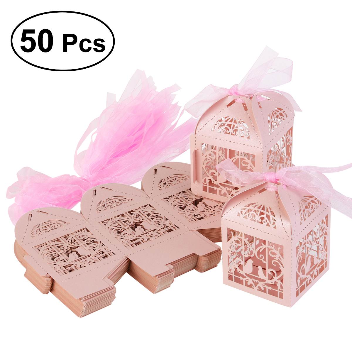 50PCS Hollow Laser Cut Wedding Favor Boxes with Ribbons for Wedding ...