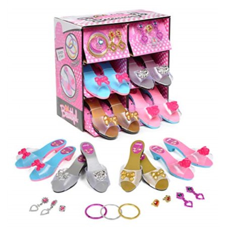 Princess Dress Up and Play Shoe and Jewelry Boutique (set Includes 4 Pairs) - Kids Dress Up Shoes