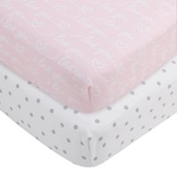 MoDRN Love 2-Piece Fitted Crib Sheet Set, Pink, Grey, and White